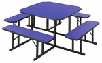 Customizable Square Backless Break Room Table with 4 Built in Benches - 78''W x 78''D x 29''H [NBS-48-BKS]