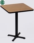 Laminate Top Square Cafe Table with 42''H Cast Iron X-Base - 24''D x 24''W [BXB24S-CRL]