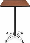 24'' Square Cafe Table - Cherry with Black Base [CBLT24SQ-CHY-MFO]
