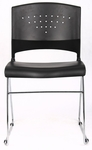 Economical Stack Chair with Chrome Frame and Polypropylene Seat - Black [B1400-BK-1-BOSS]