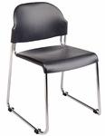Work Smart Stack Chair with Plastic Seat and Back and Steel Frame - Set of 4 - Black [STC3030-3-OS]