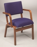 Stained Red Oak Narrow Width Upholstered Guest Chair with Arms [T-300A-TRN]