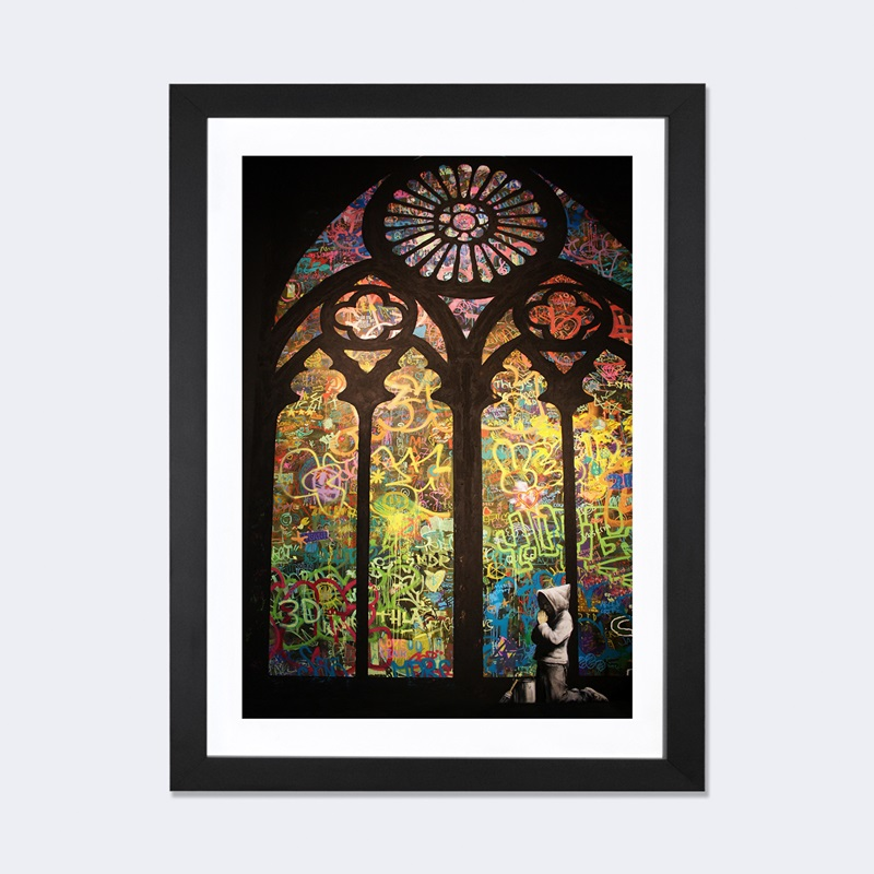 Stained glass window graffiti by banksy artwork on fine for 16 x 24 window