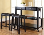 Stainless Steel Top Kitchen Cart/Island in Black Finish With 24'' Black Upholstered Saddle Stools [KF300524BK-FS-CRO]