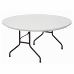 Standard Fixed Height Blow-Molded Plastic Top Round Folding Table - 60'' Diameter [R60-23-CRL]