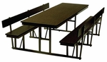 Customizable Standard Lunchroom Table with Back Support and Built in Benches - 68''W x 72''D x 29''H [WB-30-6-P-BKS]