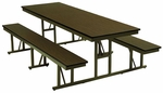 Customizable Standard Bench Lunchroom Table without Back Support - 48''W x 57''D x 29''H [NB-4-30-P-BKS]