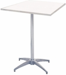 Standard Series Square Pedestal Table with Aluminum Edge, Chrome Plated Steel Column, and Mayfoam Top - 24''D x 24''W x 30''H [MF24SQPED30-CAE-MFC]