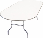 Standard Series Race Track Banquet Table with Aluminum Edge and Mayfoam Top - 72''D x 36''W x 30''H [MF3672RACE-CAE-MFC]