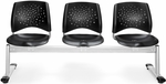 Stars 3-Beam Seating with 3 Plastic Seats [323-P-BLK-MFO]