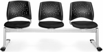 Stars 3-Beam Seating with 3 Fabric Seats - Black [323-2224-MFO]