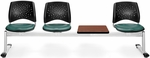 Stars 4-Beam Seating with 3 Teal Vinyl Seats and 1 Table - Cherry Finish [324T-VAM-602-CH-MFO]