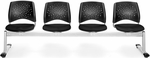 Stars 4-Beam Seating with 4 Fabric Seats - Black [324-2224-MFO]