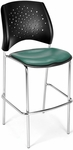 Stars Cafe Height Vinyl Seat Chair with Chrome Frame - Teal [328C-VAM-602-MFO]