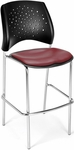 Stars Cafe Height Vinyl Seat Chair with Chrome Frame - Wine [328C-VAM-603-MFO]