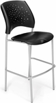 Stars Cafe Height Plastic Chair with Silver Frame - Black [328S-P-BLK-MFO]