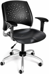Stars Swivel Plastic Chair with Arms [326-P-AA3-BLK-FS-MFO]