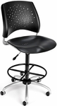 Stars Swivel Plastic Chair with Drafting Kit - Black [326-P-DK-BLK-FS-MFO]