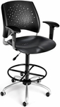 Stars Swivel Plastic Chair with Arms and Drafting Kit - Black [326-P-AA3DK-BLK-FS-MFO]