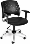 Stars Swivel Chair with Vinyl Seat and Arms - Black [326-VAM-AA3-606-FS-MFO]