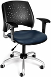Stars Swivel Chair with Vinyl Seat and Arms - Navy [326-VAM-AA3-605-FS-MFO]