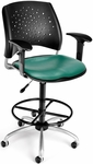 Stars Swivel Chair with Vinyl Seat with Arms and Drafting Kit - Teal [326-V-AA3DK-602-FS-MFO]
