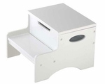 Kids Sturdy Wooden Step 'N Store Two Step Stool with Storage - White [15601-FS-KK]
