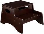 Kids Sturdy Wooden Step 'N Store Two Step Stool with Storage - Espresso [15653-FS-KK]