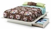 Step One Collection Full/Queen Platform Bed (54/60'') with Drawers Pure White