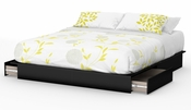 Step One Collection King Platform Bed (78'') with Drawers Pure Black