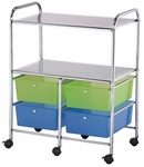 4 Drawer Chrome Frame Storage Cart with 2 Shelves - Multicolor [SC4MCDW-S-FS-ALV]