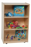 Kids Wood Mobile Storage Shelf with Easy Movement Casters - Assembled - 24''W x 15''D x 38''H [25000-WDD]