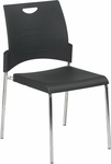 Work Smart Straight Leg Stack Chair with Plastic Seat and Back - Set of 2 - Black [STC8300C2-3-OS]