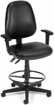 Straton Series Anti-Microbial and Anti-Bacterial Vinyl Task Chair with Arms and Drafting Kit - Black [119-VAM-AADK-66-FS-MFO]