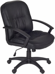 Stratus Height Adjustable Swivel Chair with Casters - Black Vinyl [3320BK-FS-REG]