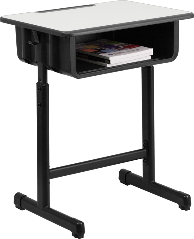 Student Desk With Grey Top And Adjustable Height Black