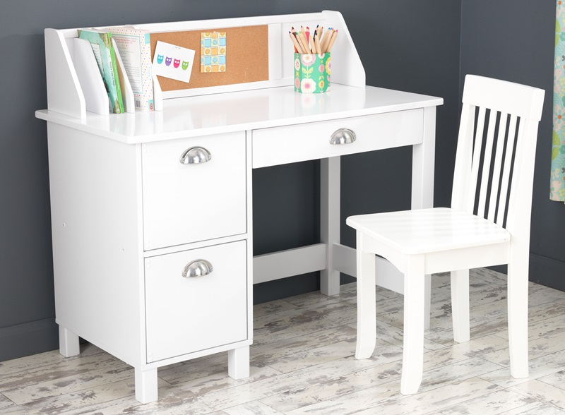 White Desk With Drawers And Hutch: Kids Wooden Writing And Study Desk With Bulletin Board