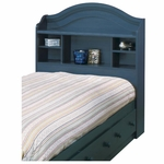 Summer Breeze Collection Twin Size Bookcase Headboard in Blueberry [3294098-FS-SS]