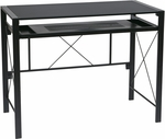 OSP Designs Creston Powder Coated Frame Desk with Pullout Keyboard Tray and Storage Compartments - Black [CRS25-3-FS-OS]