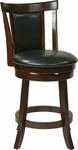OSP Designs Metro 24'' Faux Leather Swivel Barstool with Footrest - Black [MET2224-BK-FS-OS]