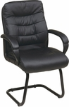 Work Smart Faux Leather Visitors Chair with Padded Arms and Sled Base - Black [FL7485-U6-FS-OS]