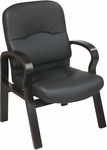 Work Smart Eco Leather and Wood Visitors Chair with Contour Padded Seat and Back - Espresso [WD5385-EC3-FS-OS]