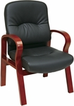 Work Smart Mid-Back Leather Visitors Chair with Padded Wooden Arms - Cherry [WD5675-EC3-FS-OS]