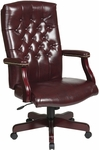Work Smart Traditional Button Tufted Vinyl Executive Chair with Mahogany Finish Legs - Oxblood [TEX232-JT4-FS-OS]