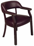 Work Smart Traditional Mahogany Guest Chair with Wrap-Around Back and Padded Armrests - Oxblood [TV230-JT4-FS-OS]