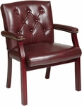 Work Smart Traditional Mahogany Finished Visitors Chair with Padded Arms - Oxblood [TV233-JT4-FS-OS]