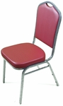 Superb Seating Heavy-Duty Steel Frame Vinyl Upholstered Stacking Chair - Burgundy [10358-MCC]