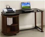 Suzanne 22.83'' W x 53.15'' D x 28'' H Glass Top Workstation with Rotating Drum - Black Glass with Dark Cherry Frame [DF-91504-FS-EOF]