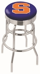 Syracuse University 25'' Chrome Finish Double Ring Swivel Backless Counter Height Stool with Ribbed Accent Ring [L7C3C25SYRCSE-FS-HOB]