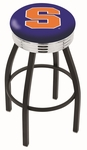 Syracuse University 25'' Black Wrinkle Finish Swivel Backless Counter Height Stool with Ribbed Accent Ring [L8B3C25SYRCSE-FS-HOB]
